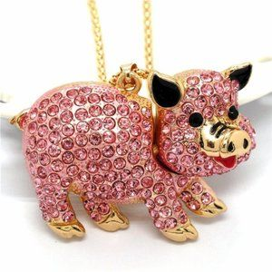 Jewelry - Adorable Dimentional Pink Crystal Pig Necklace